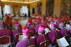 pope benedict xvi, left, surrounded by cardinals and bishops_425x