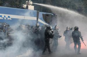 Protesters demonstrated during ECB executive in Naples