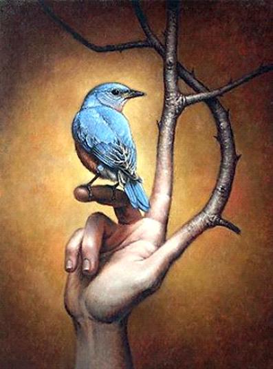 Μεγάλο πουλί δίπλα στο μικρό πουλί